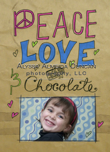 Peace Love and Chocolate Card FRONTemail